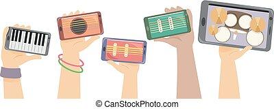 instrumenten, handen, storing, illustratie, digitale