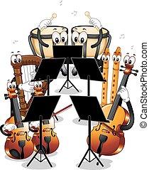 instrumenten, orkest, mascotte