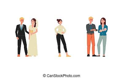 isolated., vector, gezin, stadia, mensen, spandoek, illustratie, karakters, plat