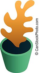 isometric, bloem pot, stijl, pictogram, thuis