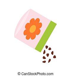 isometric, bloem, stijl, zak, zaden, kleine, pictogram, 3d