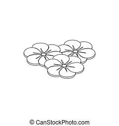 isometric, bloem, zes, stijl, kroonbladen, pictogram, 3d