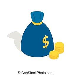 isometric, geld, stijl, zak, pictogram, 3d