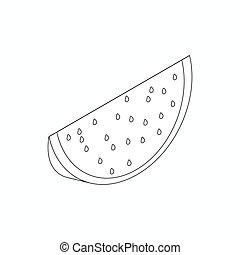 isometric, snede, stijl, watermeloen, pictogram, 3d
