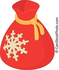 isometric, stijl, zak, pictogram, kerstmis, 3d
