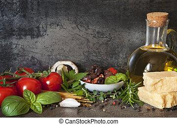 italiaanse , achtergrond, voedingsmiddelen