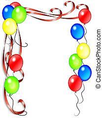 jarig, linten, ballons