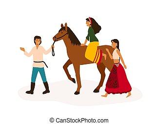 jeugd, vrienden, vector, nomads, man, jonge, paardrijden, zigeuner, romany, levensstijl, spotprent, het reizen, concept., illustration., plat, meisje, plezier, characters., horseback., nomadic, vrijheid, hebben