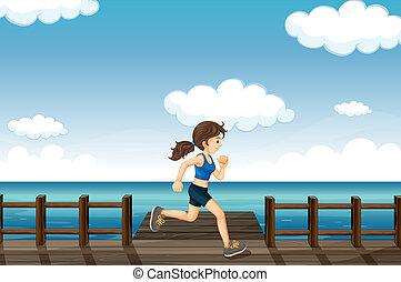 jogging, vrouw, jonge
