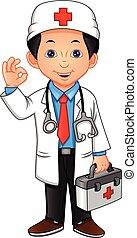 jonge arts, zwaaiende