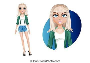 jonge, eyes., modieus, spotprent, vrouw, jacket., mooi, blonde, kniebroek, karakter, blauw groen, modern.