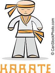 jonge, illustratie, karate, vector, ontwerp, spotprent, man