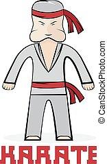 jonge, illustratie, karate, vector, spotprent, man