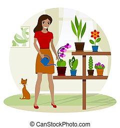 jonge, plant., watering, potted, vrouw