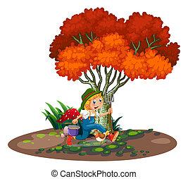 jonge, tuinman, vrolijke