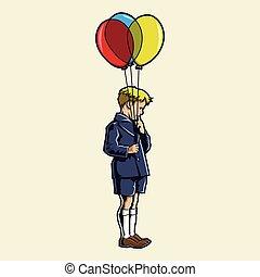 jongen, ballons