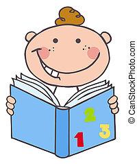 jongen, boek, lezende , geitje
