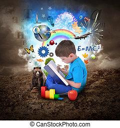 jongen, boek, opleiding, lezende , voorwerpen