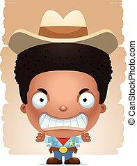 jongen, boos, spotprent, cowboy