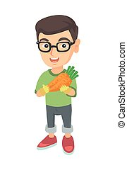 jongen, carrot., vasthouden, fris, kaukasisch, bril