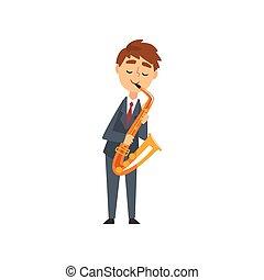 jongen, concert, klassiek, karakter, jonge, illustratie, spelende saxophone, vector, muziek instrument, akoestisch, saxophonist, muzikalisch, begaafd