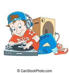 jongen, dj, spotprent, disco
