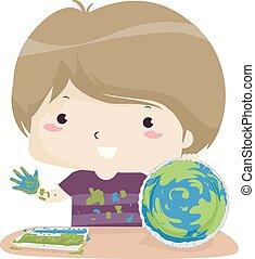 jongen, duitser, illustratie, handwerken, aarde, care, dag, geitje