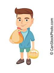 jongen, eggs., chicken, vasthouden, hen, kaukasisch