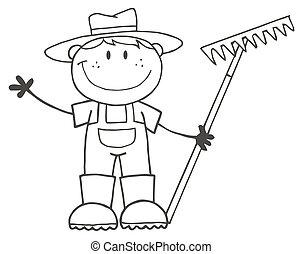 jongen, farmer, geschetste