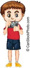 jongen, fototoestel, witte , vasthouden, hemd, rood, schattig, achtergrond