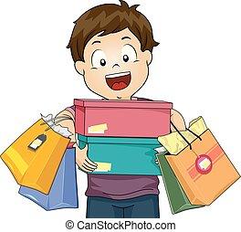 jongen, geitje, shoppen , illustratie, vrolijke