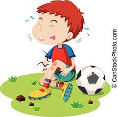 jongen, grazen, voetbal, spelend, hebben