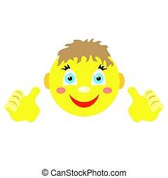 jongen, hands., beide, smiley, vinger, gebaar