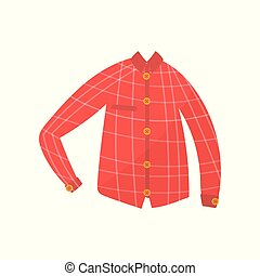 jongen, hemd, illustratie, cheskered, jongens, vector, slijtage, achtergrond, wit rood