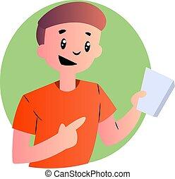 jongen, hemd, illustratie, vector, achtergrond, sinaasappel, witte , spotprent