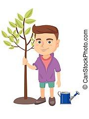 jongen, het glimlachen, boom., kaukasisch, aanplant