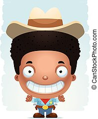 jongen, het glimlachen, spotprent, cowboy
