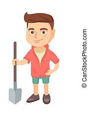 jongen, het glimlachen, vasthouden, shovel., kaukasisch