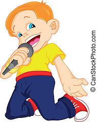 jongen, het zingen, jonge