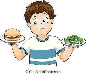 jongen, illustratie, hamburger, kiezen, broccoli, geitje