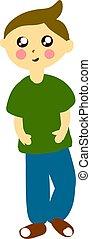 jongen, illustratie, hemd, achtergrond., vector, groen wit