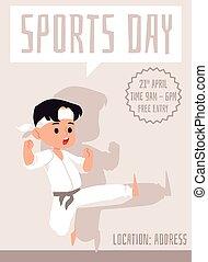 jongen, illustration., vector, sporten dag, karate, spandoek, plat, school, pose