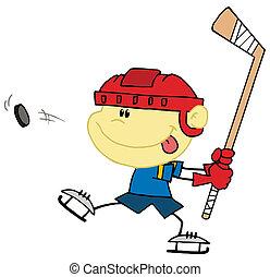 jongen, kaukasisch, hockey, spelend