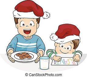 jongen, koekjes, geitjes, illustratie, kerstman, melk