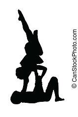 jongen, lucht, turnoefening, het in evenwicht brengen, meisje, acrobatisch