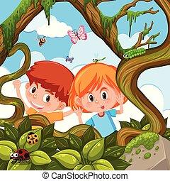 jongen, meisje, spelend, natuur
