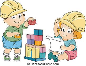 jongen, meisje, toddler, ingenieurs