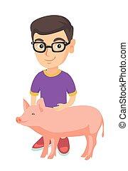 jongen, pig., kaukasisch, farmer, stroking, bril