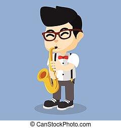jongen, saxofone, spelend