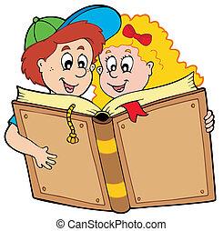 jongen, schoolboek, girl lezen